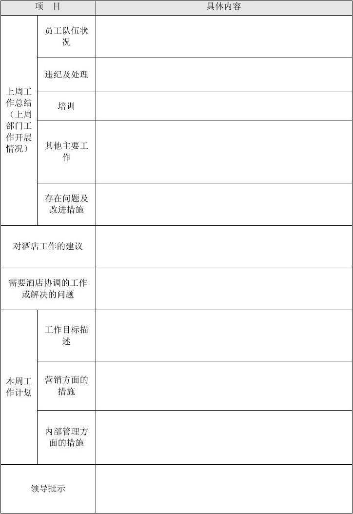 酒店销售部工作计划_酒店周工作汇报表