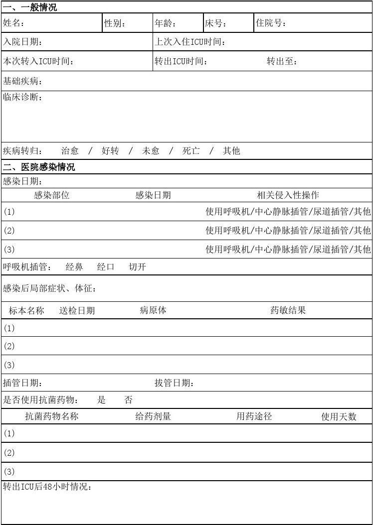 ICU医院感染病例监测表