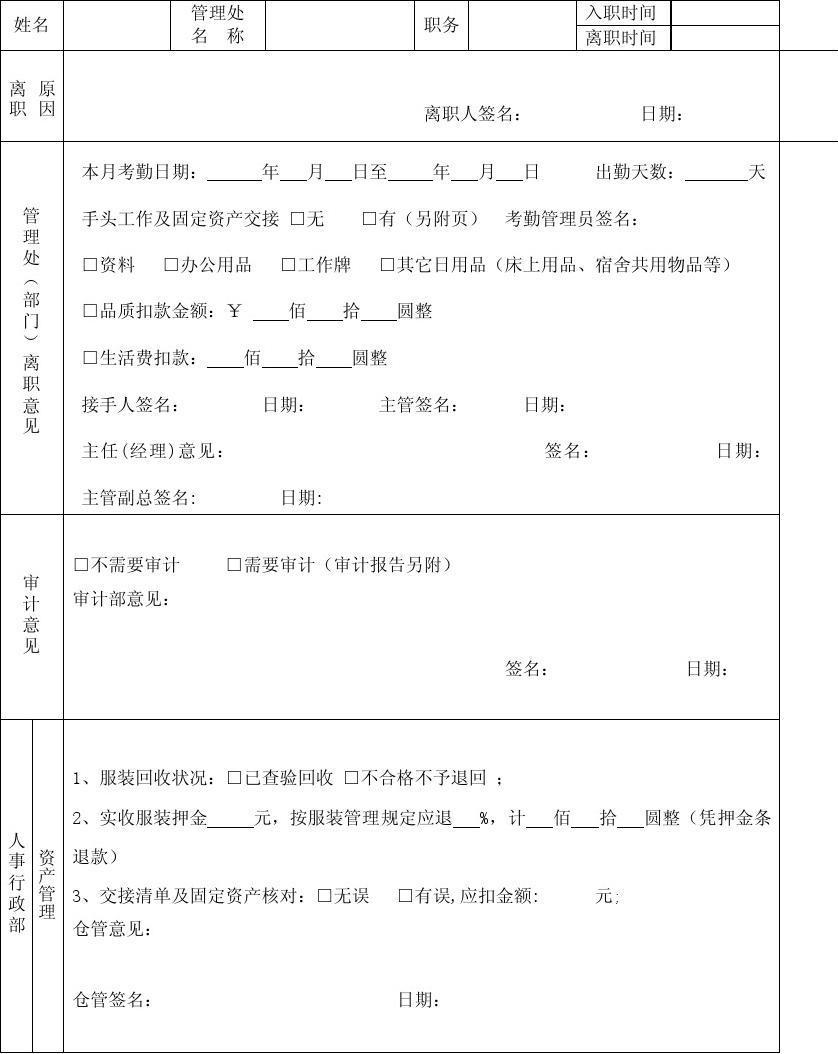 当前第1页) 你可能喜欢 离职交接表 员工离职管理制度 员工离职申请表图片