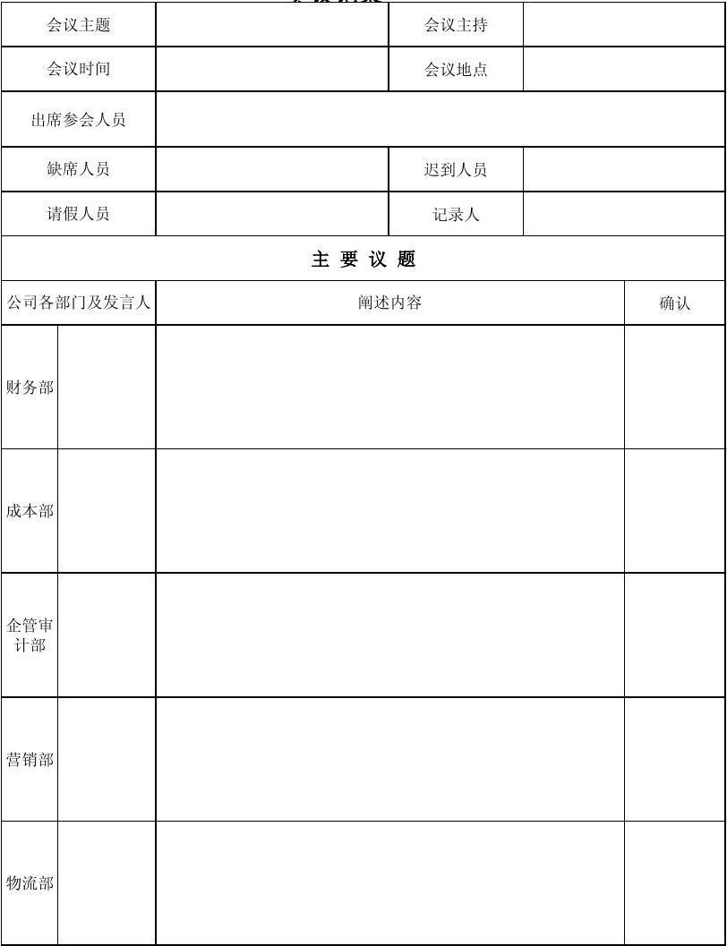 会议记录表、签到表