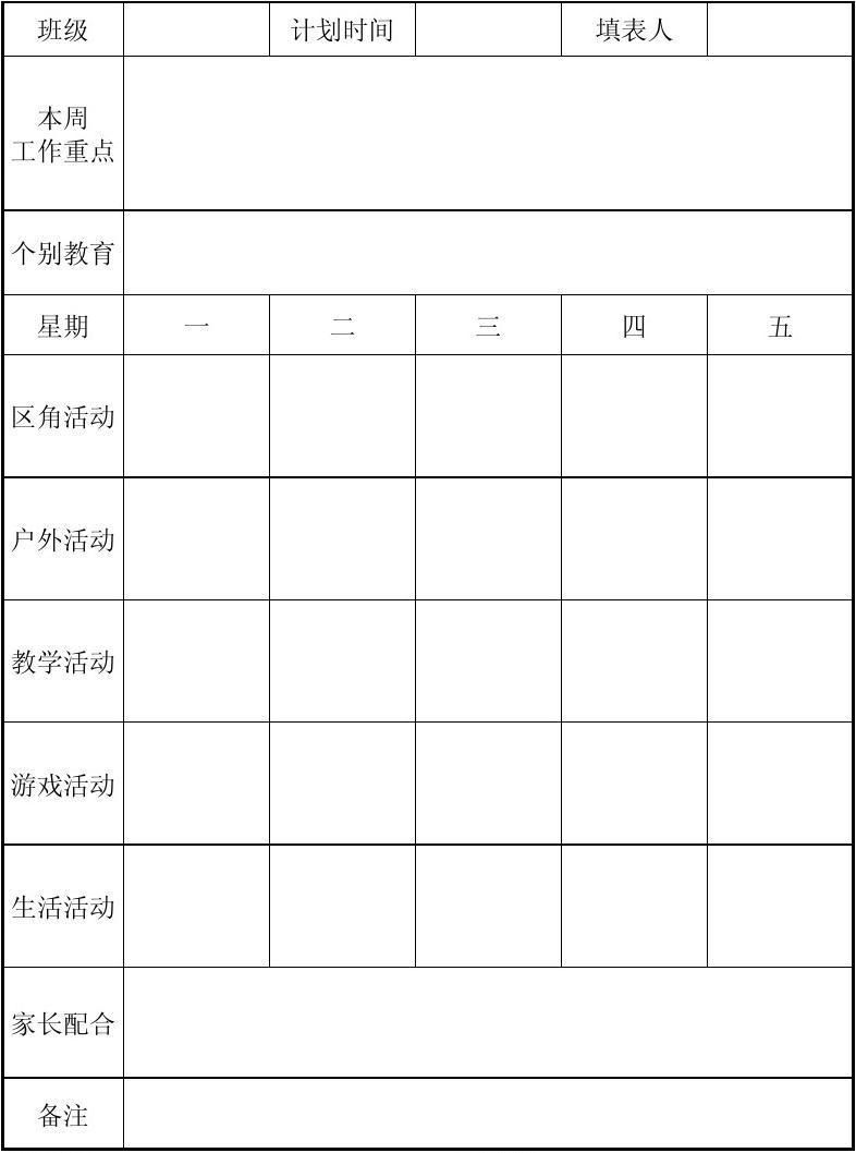 幼儿园周计划样板_小水小学幼儿园月、周计划表_word文档在线阅读与下载_无忧文档