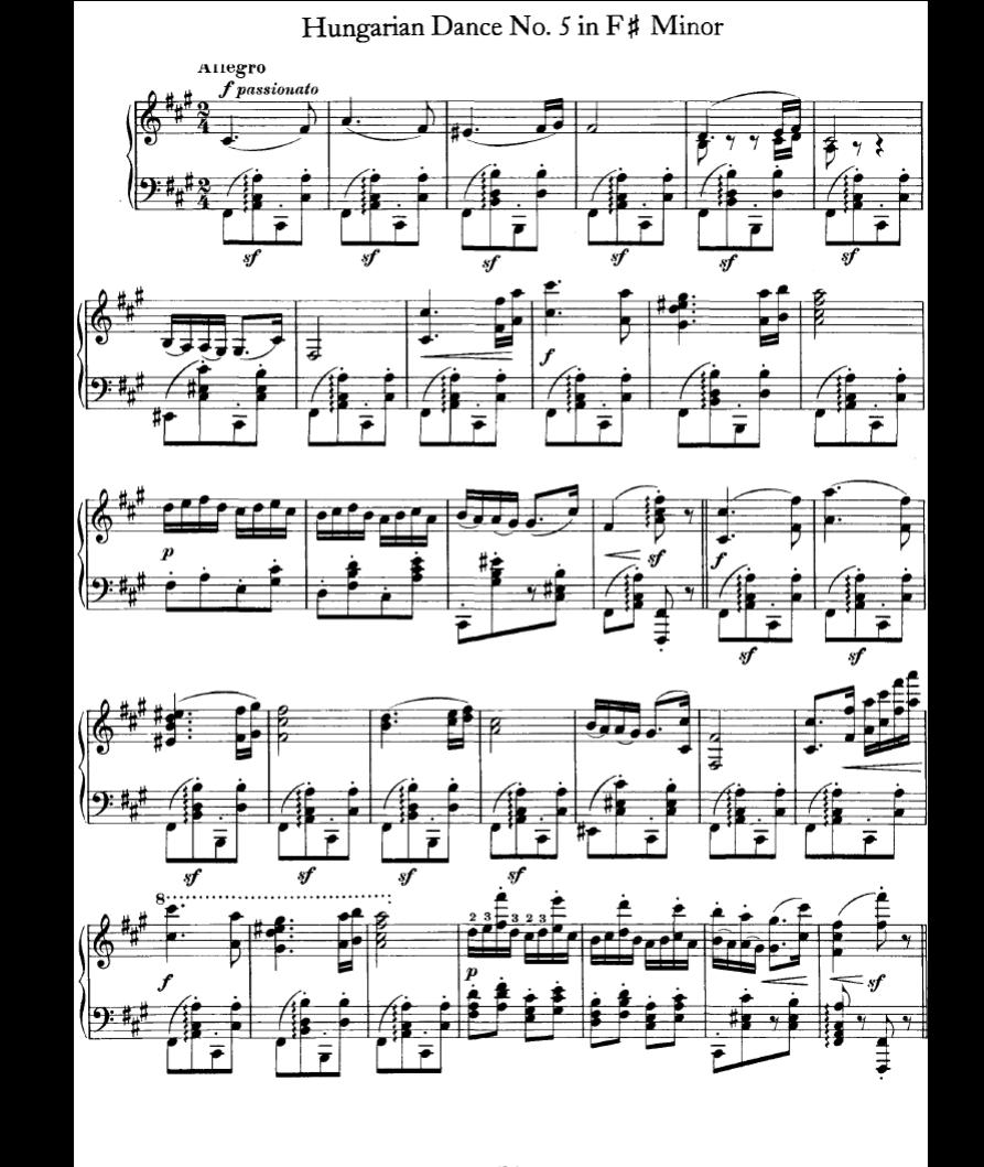 勃拉姆斯-匈牙利舞曲五号钢琴谱图片