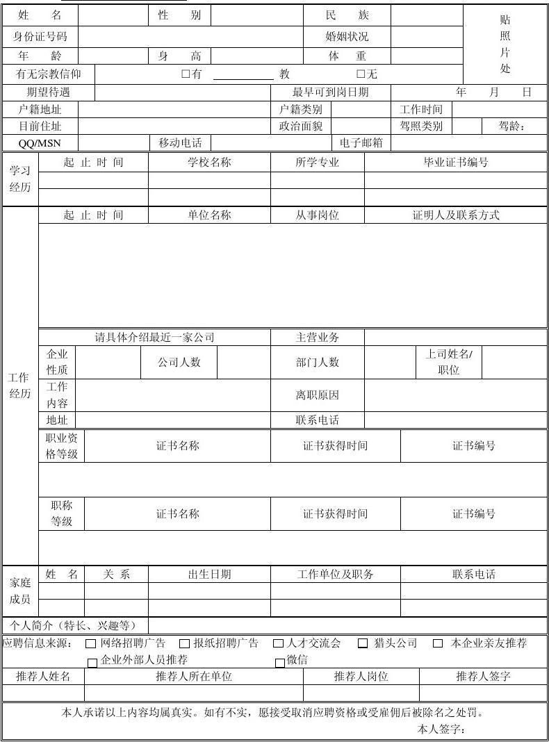 应聘人员登记表(新版)