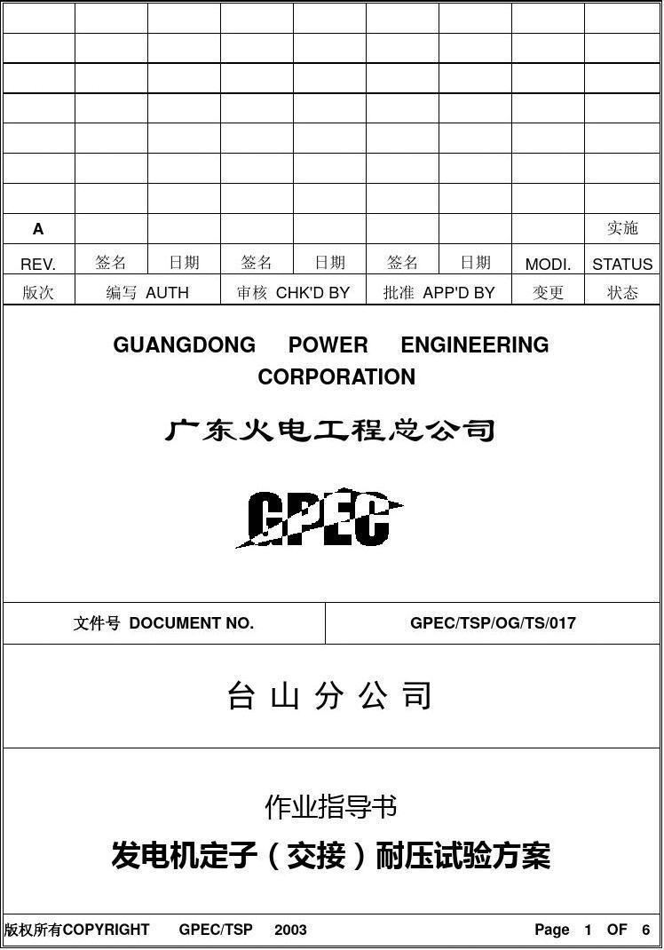 发电机耐压试验方案