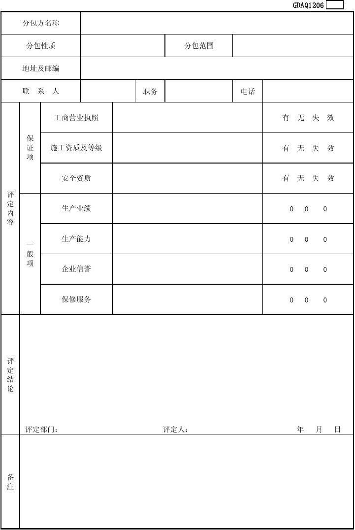 GDAQ1206分包方评价记录表