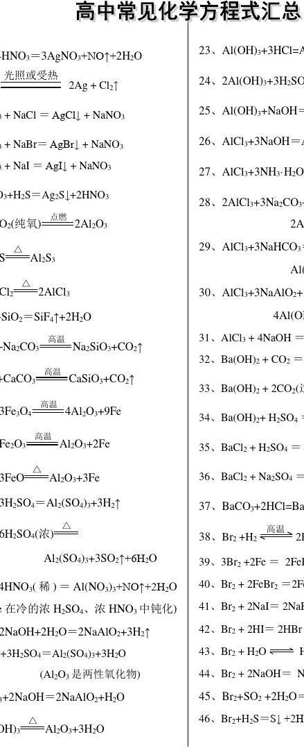 常见学校无机化学方程式汇总_word高中v常见阅文档最差分数线的淮安高中图片