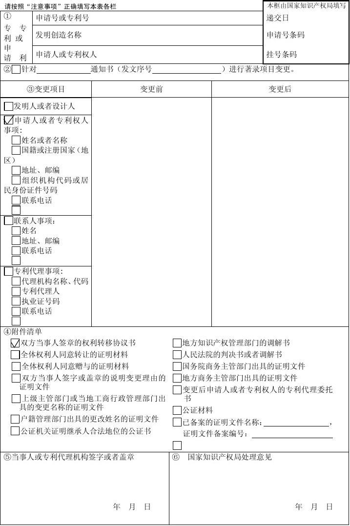 初中变更元素要求申报书著录专利的背项目图片