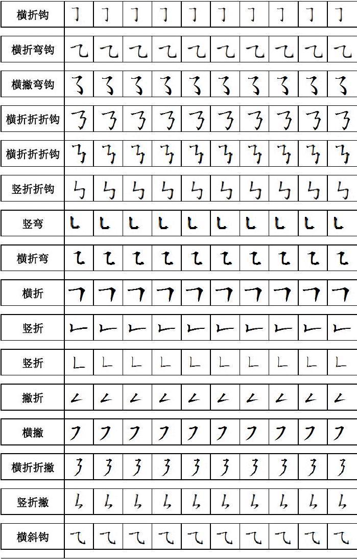 幼儿汉字笔画描红-方格图片