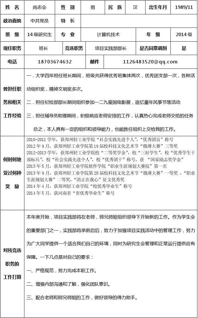 研究生会部长竞选申请表