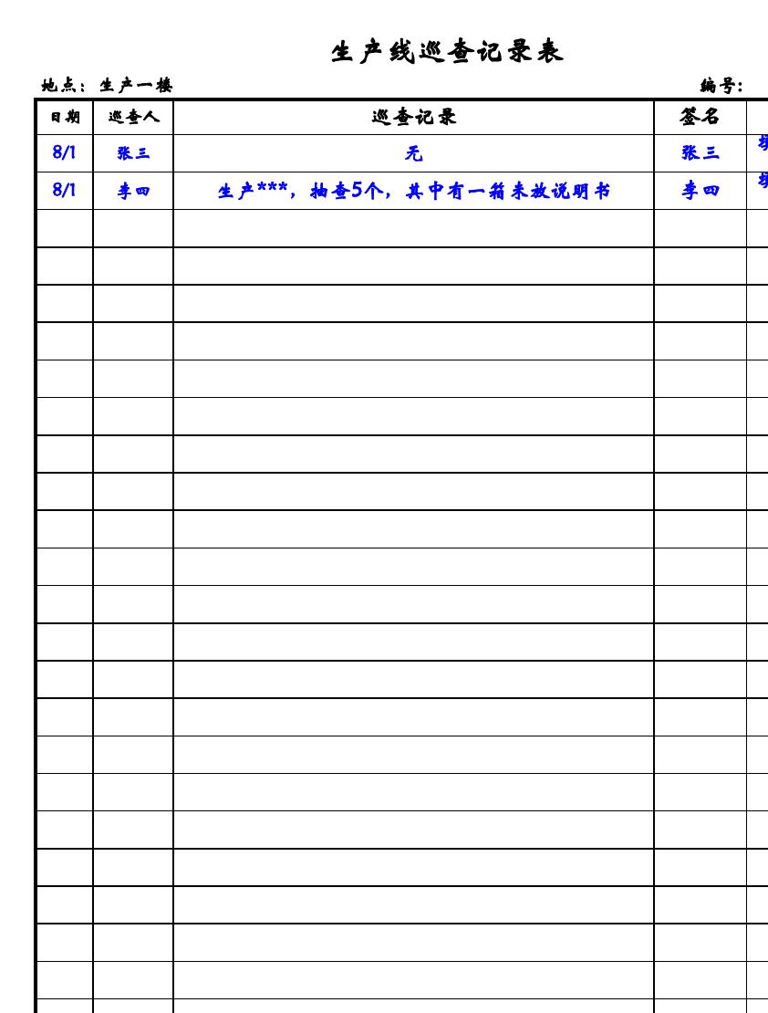 生产线巡查记录表