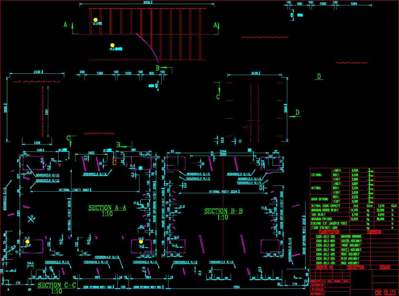 20尺高柜工程图纸机器集装箱,下载后获得cad标准标准块常见图图片