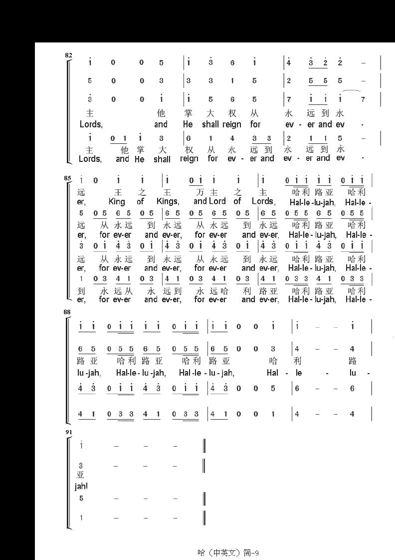 法律资料 哈利路亚四声部 简谱  第9页 (共9页,当前第9页) 你可能喜欢图片