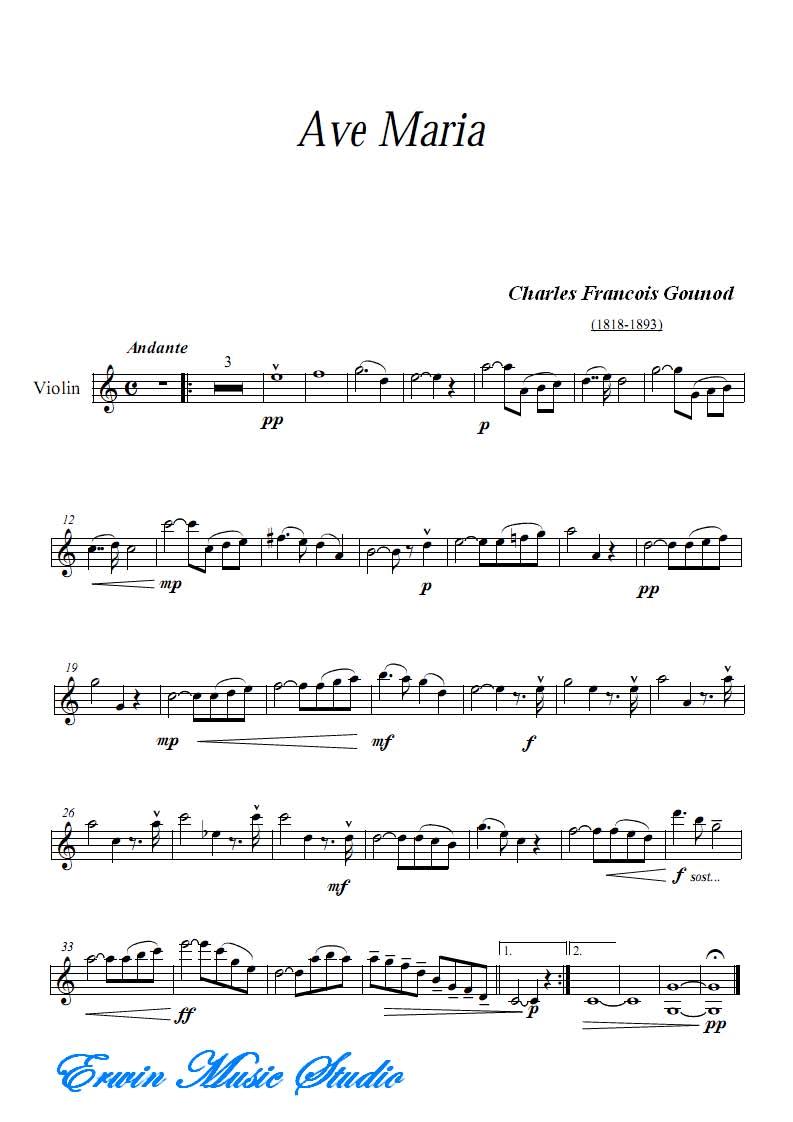 Violin古诺《圣母颂》小提琴谱