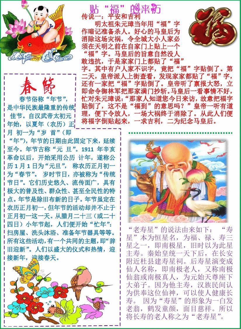 春节手抄报模板新年快乐电子简报小学生传统节日板报