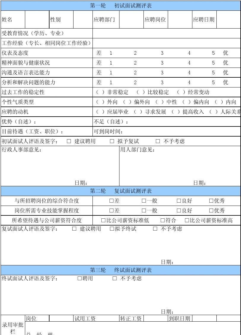 表格/模板 表格类模板 应聘人员面试记录表  日期: 复试面试测评表