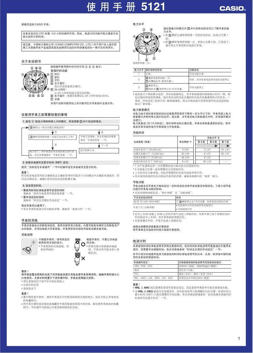 卡西欧手表GW-3000 中文使用说明书