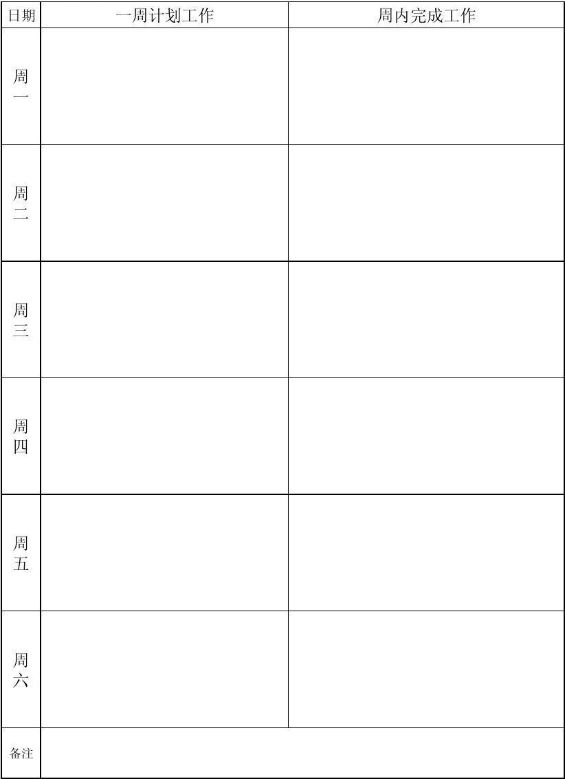 (xx部门)一周工作计划(完成)情况表图片
