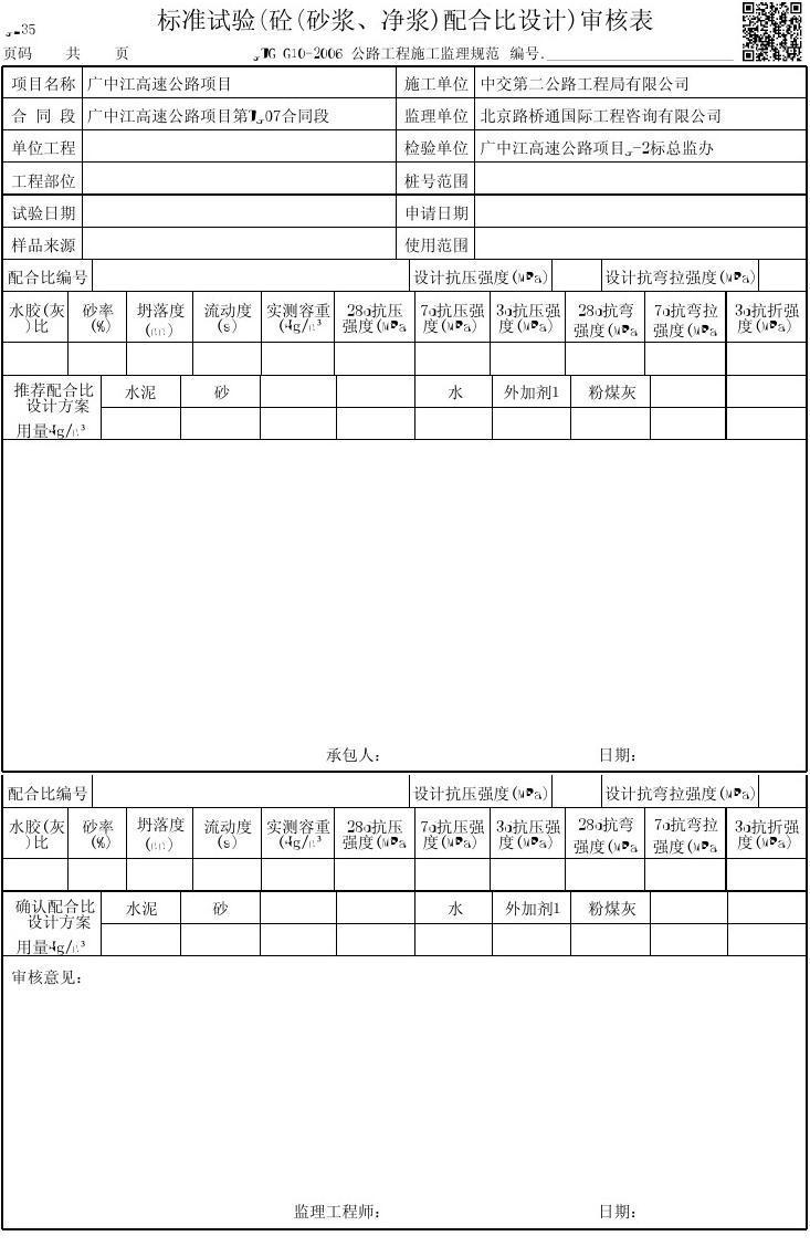 标准试验(砼(砂浆,净浆)配合比设计)审核表图片