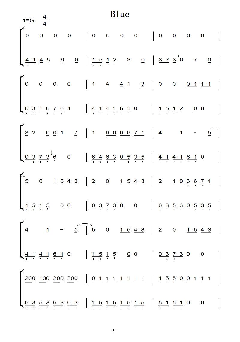 blue 林海 钢琴双手简谱 钢琴谱图片