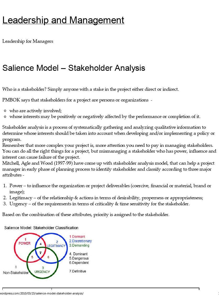 stakeholder salience analysis amazon Stakeholder analysis is the identification of a project's key stakeholders, an assessment of their interests and the ways in which these interests affect the .