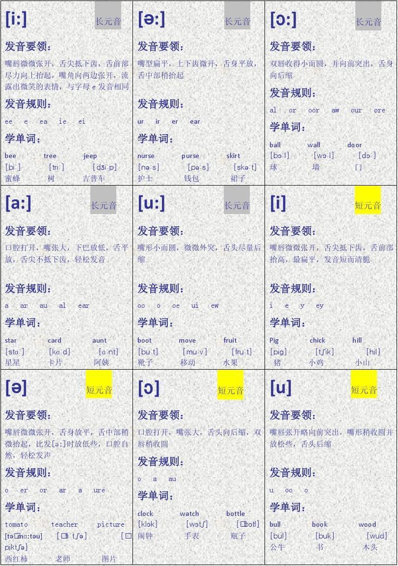英语音标卡片