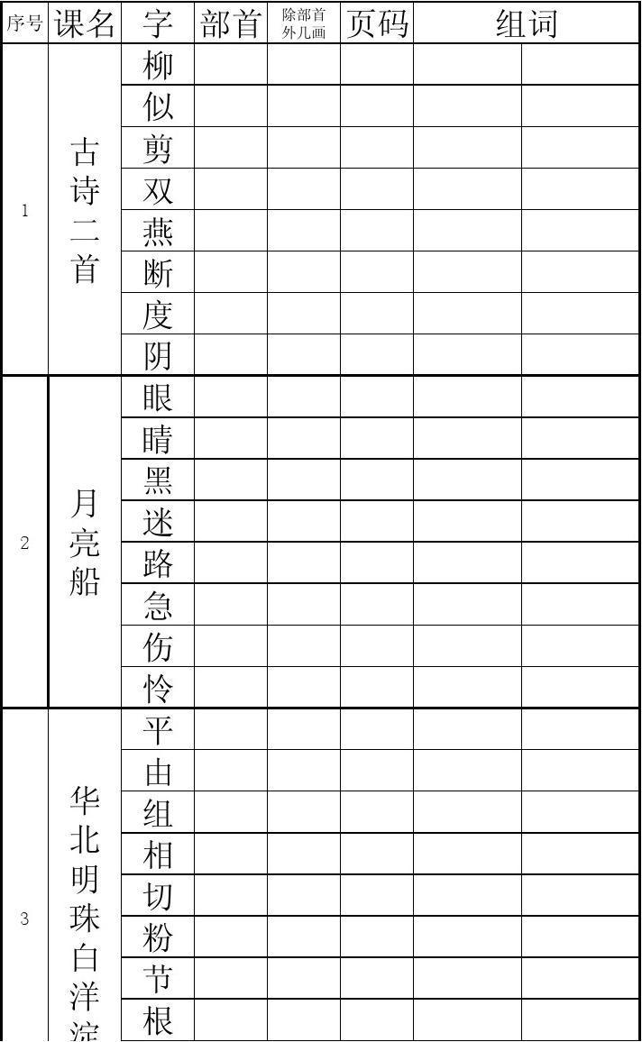 冀教版语文二年级下部首查字法查字典练习答案