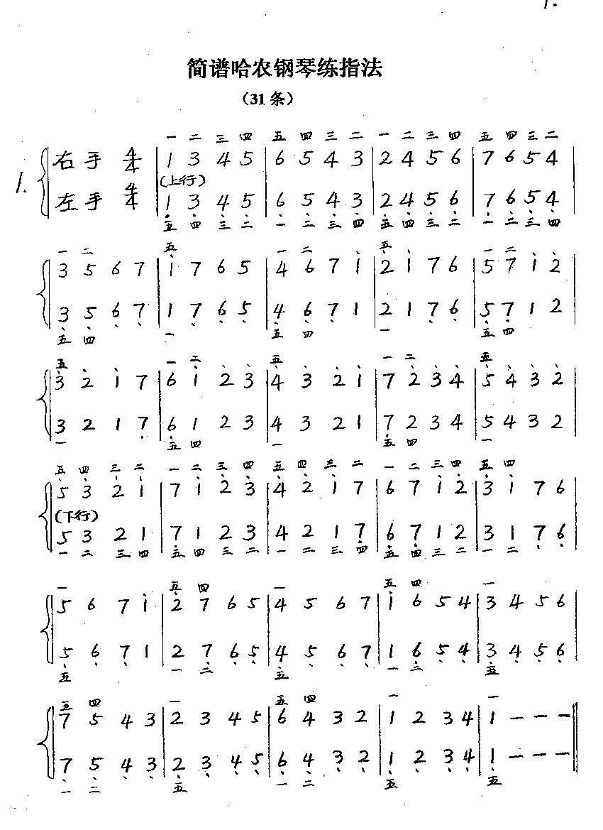 简谱哈农钢琴练指法图片