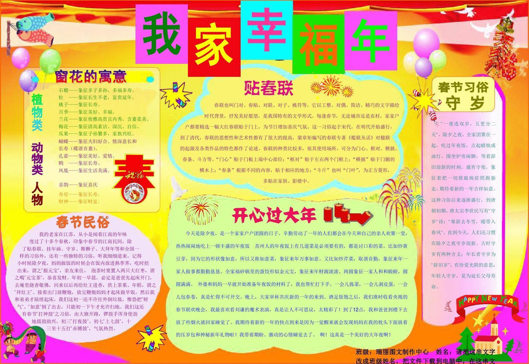 我家幸福年053a3新年春节电子小报成品欢度春节手抄报图片