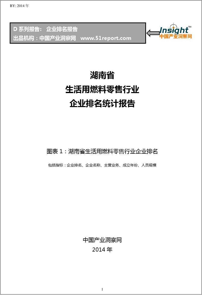 湖南省生活用燃料零售行业企业排名统计报告