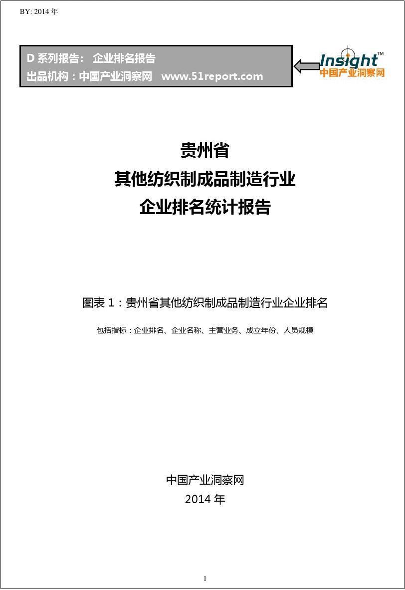贵州省其他纺织制成品制造行业企业排名统计报告