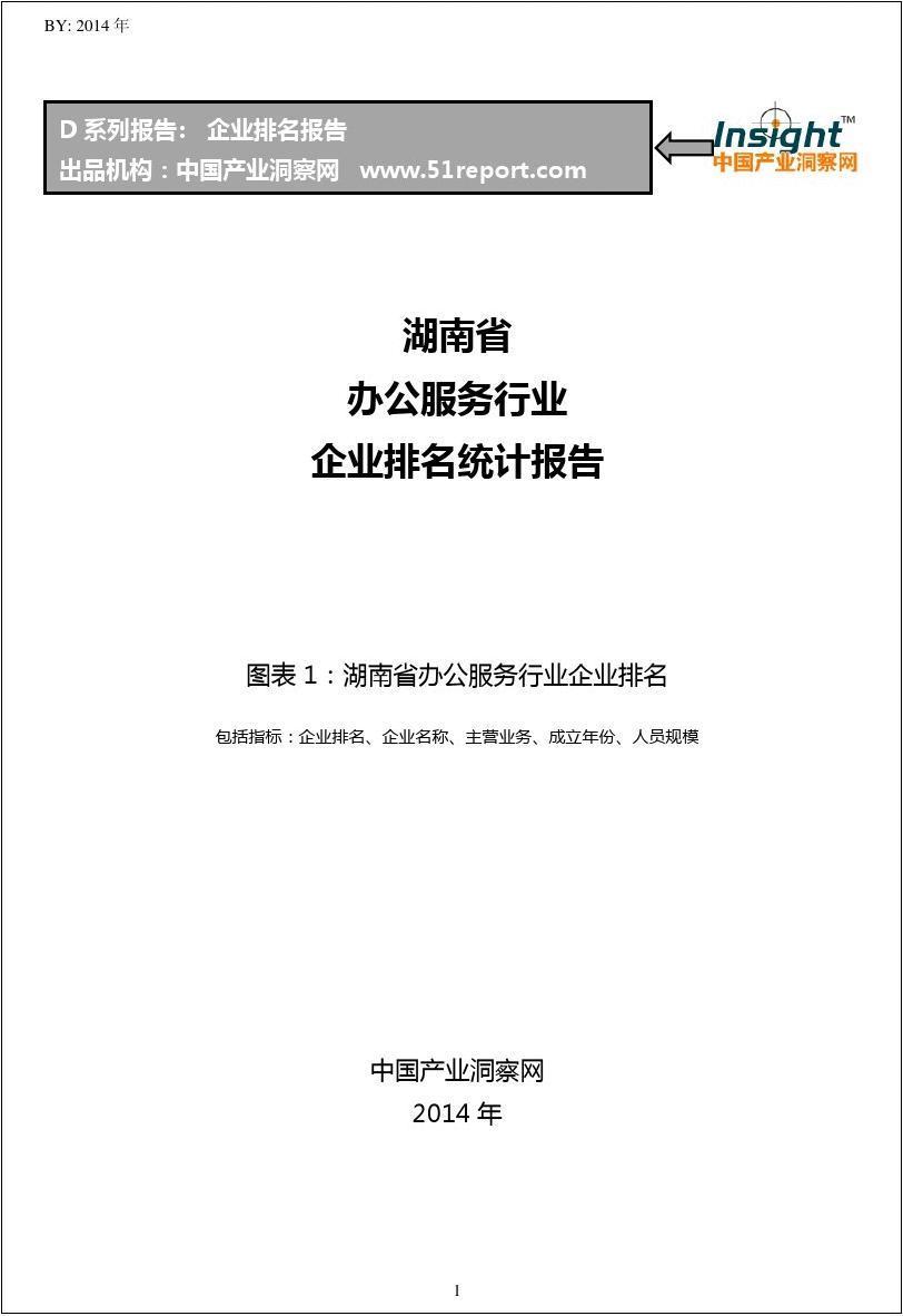 湖南省办公服务行业企业排名统计报告