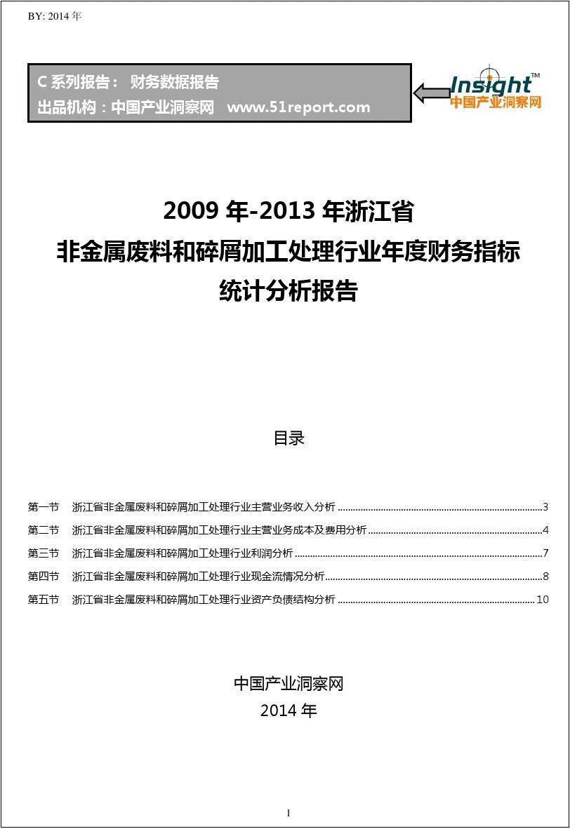2009-2013年浙江省非金属废料和碎屑加工处理行业财务指标分析年报