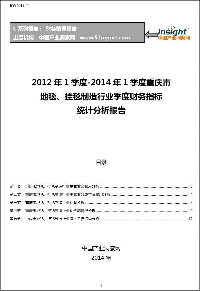 2012-2014年1季度重庆市地毯、挂毯制造行业财务指标分析季报