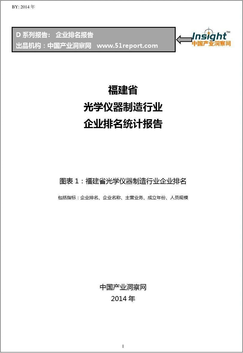 福建省光学仪器制造行业企业排名统计报告