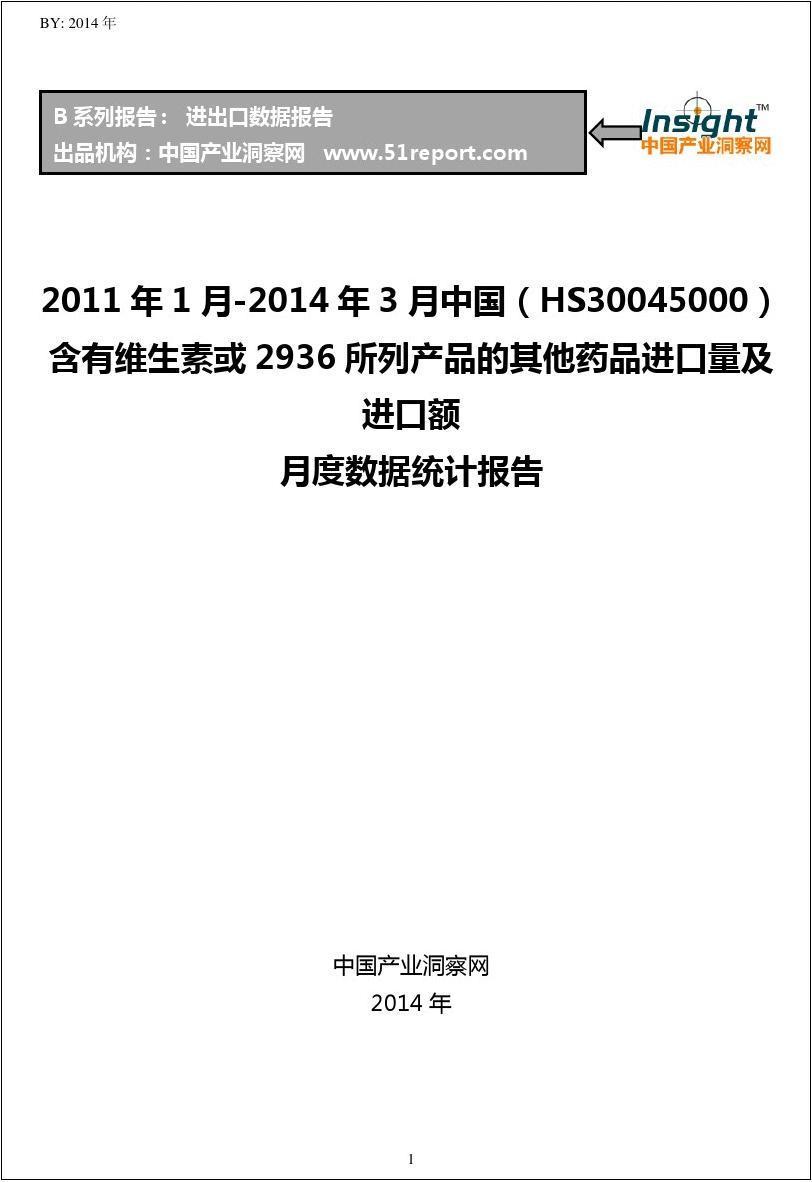 2011-2014年3月含有维生素或2936所列产品的其他药品进口数据月报(HS30045000)