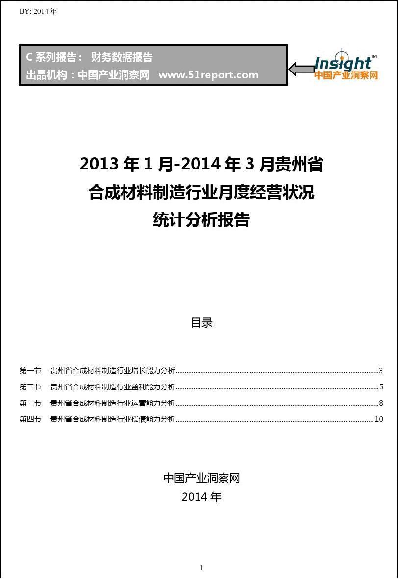 2013-2014年3月贵州省合成材料制造行业经营状况月报