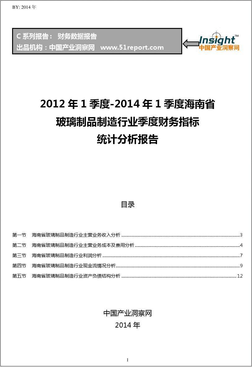 2012-2014年1季度海南省玻璃制品制造行业财务指标分析季报