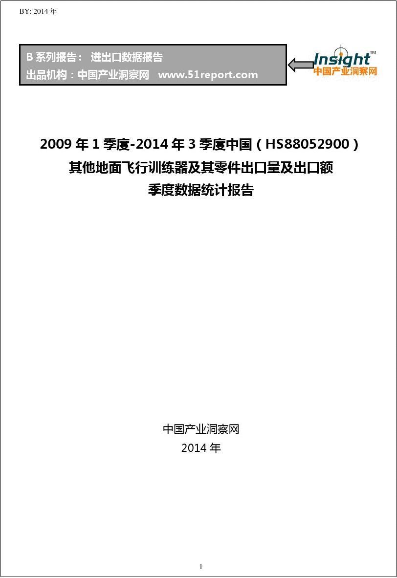 2009年1季度-2014年3季度中国(HS88052900)其他地面出口量及出口额季度数