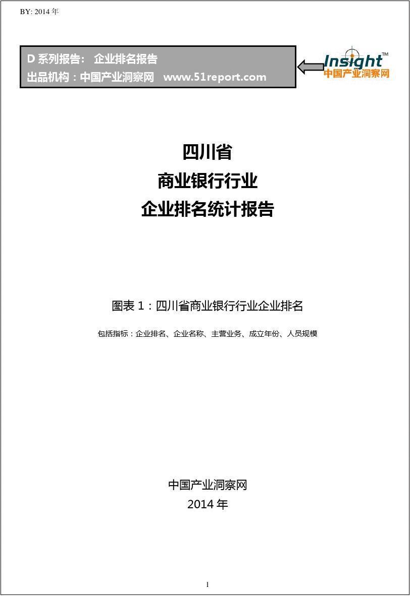 四川省商业银行行业企业排名统计报告