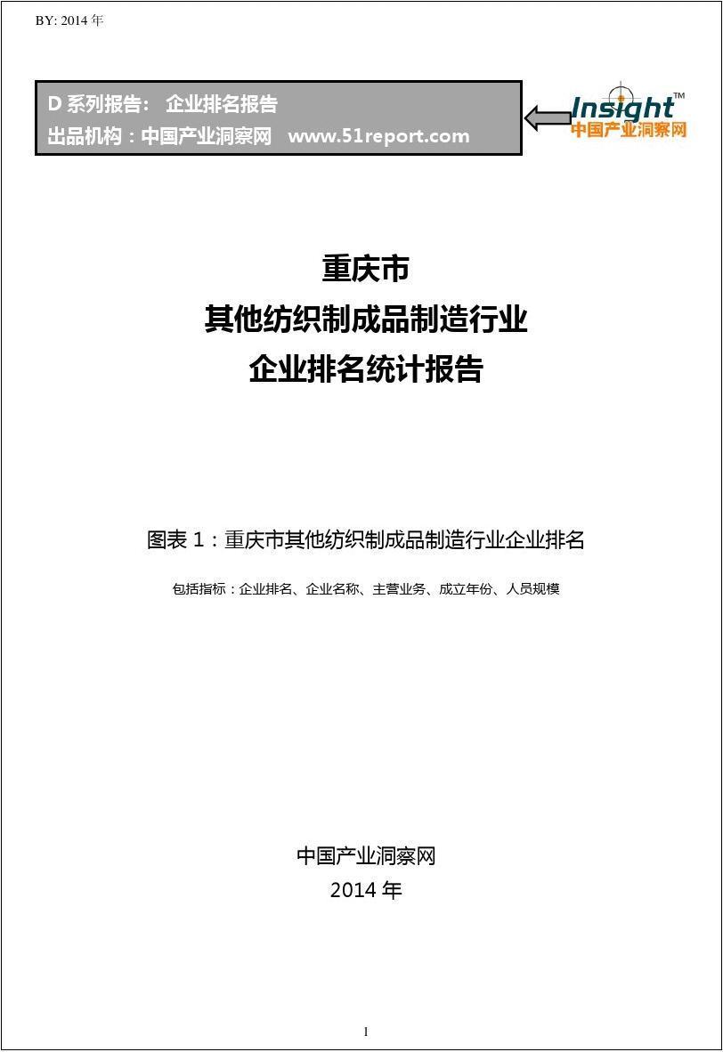 重庆市其他纺织制成品制造行业企业排名统计报告