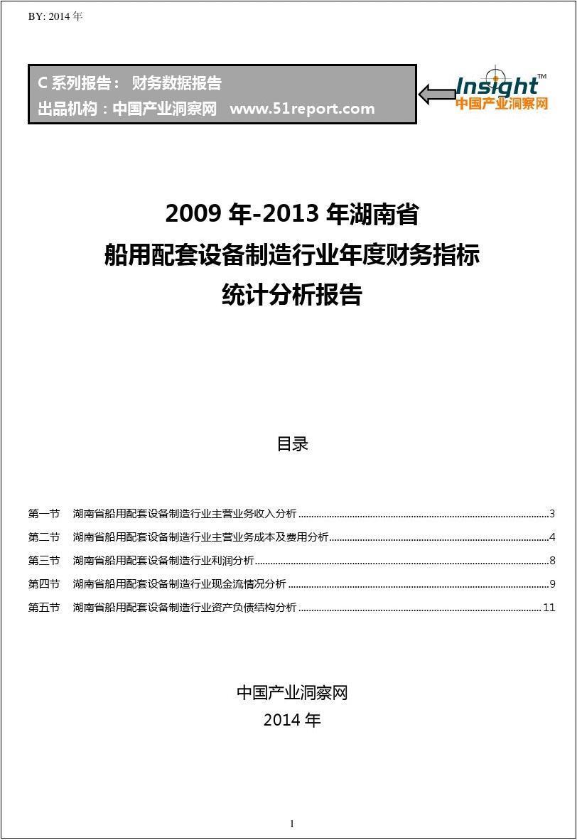 2009-2013年湖南省船用配套设备制造行业财务指标分析年报