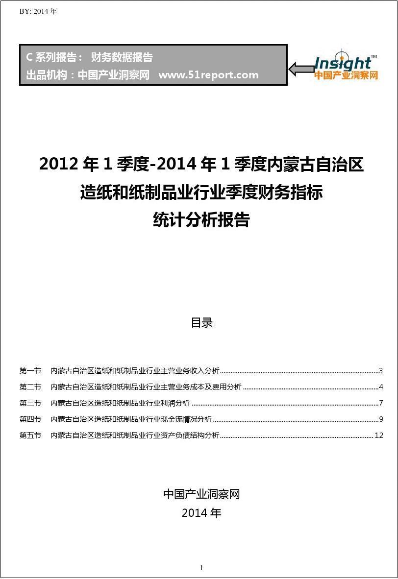2012-2014年1季度内蒙古自治区造纸和纸制品业行业财务指标分析季报