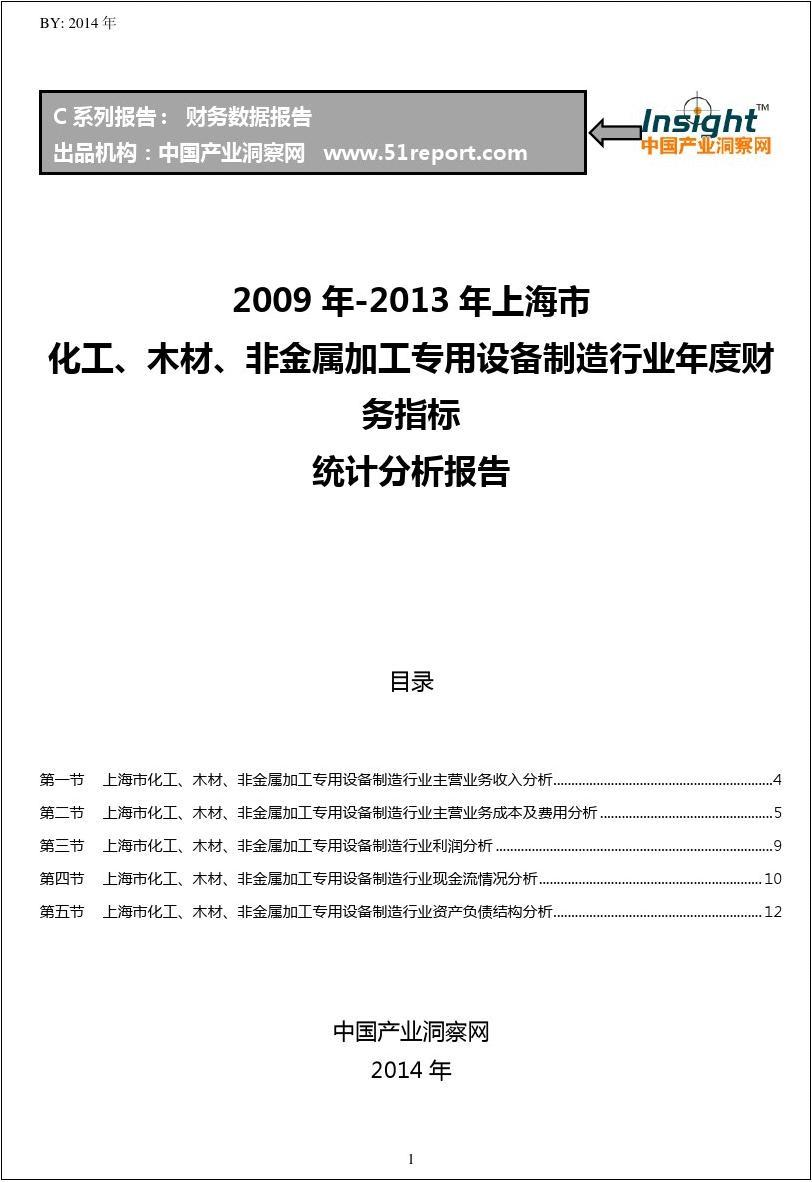 2009-2013年上海市化工、木材、非金属加工专用设备制造行业财务指标分析年报