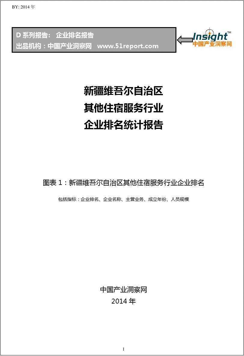 新疆维吾尔自治区其他住宿服务行业企业排名统计报告