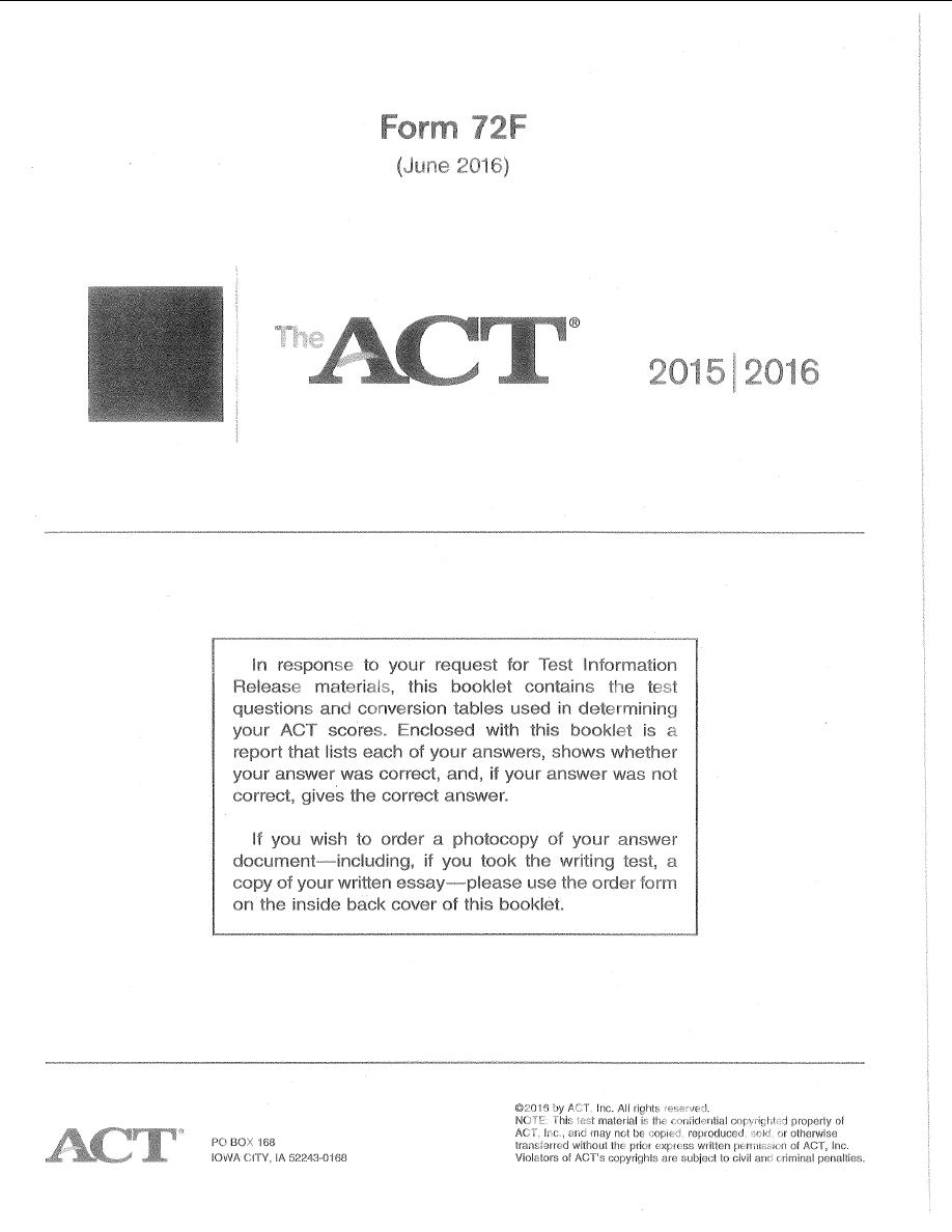 2016年6月亚太act真题