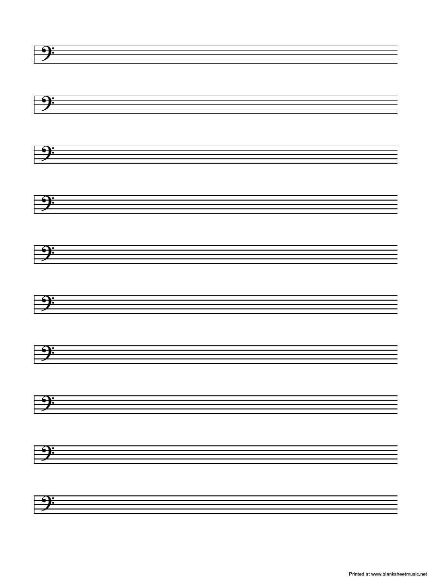 低音五线谱(字体谱)打印版免费下载v低音绸空白图片
