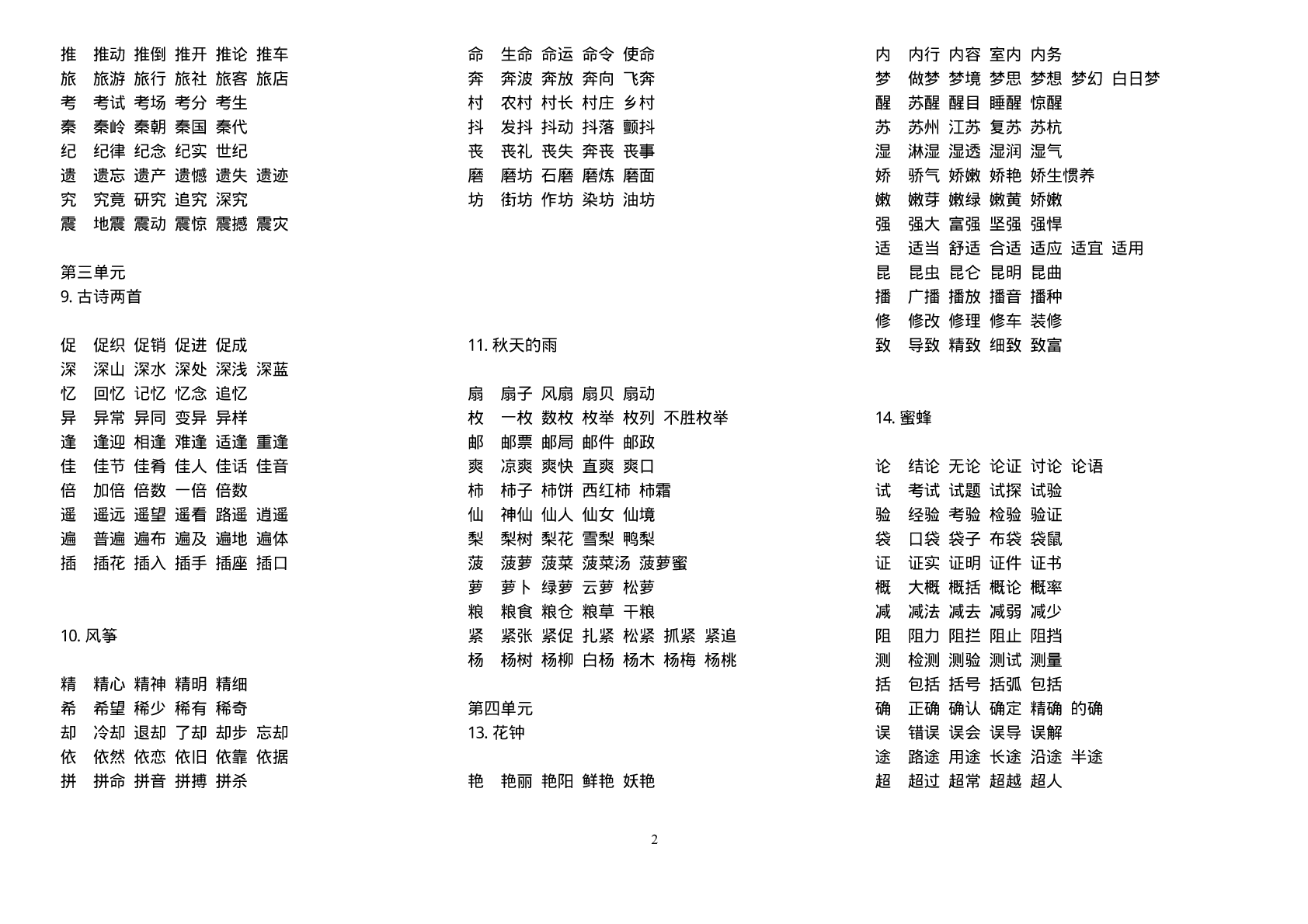 人教版小学语文五年级下册生字表组词全册
