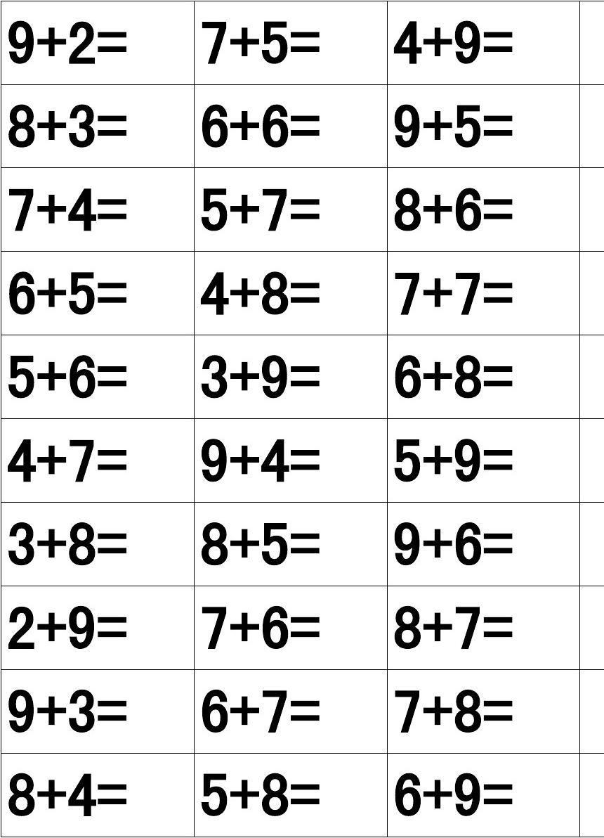 36个两位数加一位数的进位加法算式表图片