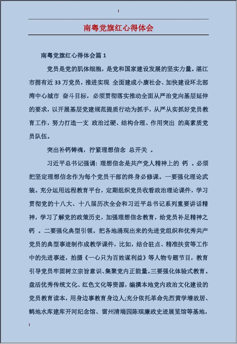 南粤党旗红心得体会
