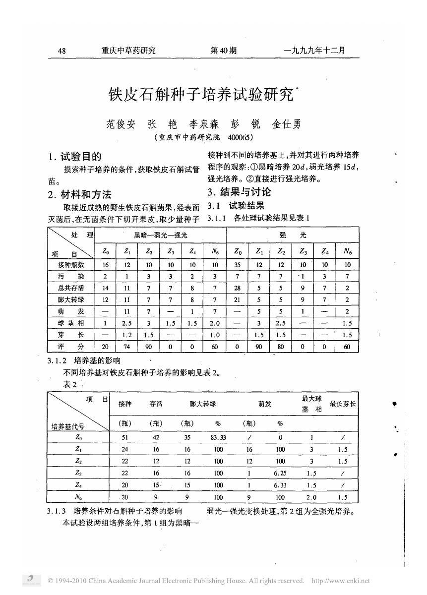 铁皮石斛种子培养试验研究
